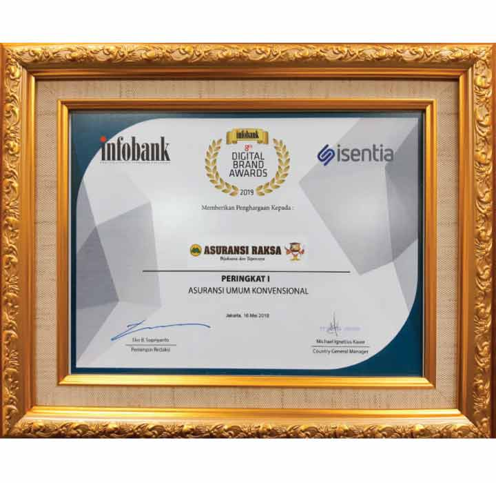 """Asuransi Raksa Raih Peringkat I di """"8th Infobank Digital Brand Awards 2019"""